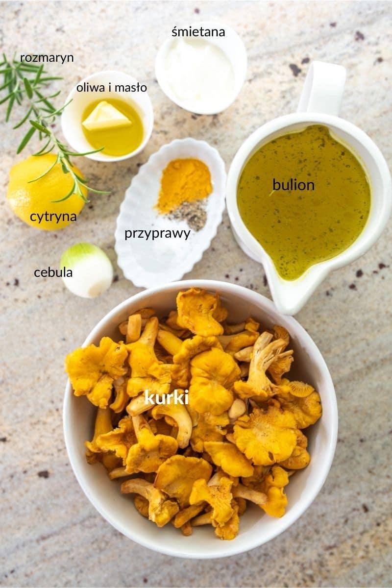 składniki na krem z kurek