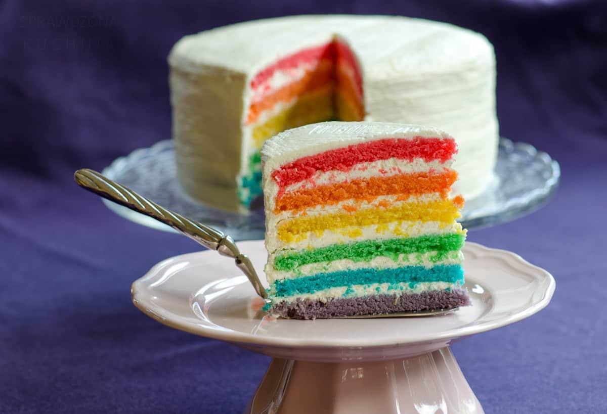 Kawałek tęczowego tortu w sześciu kolorach pokazany bokiem, a w tle cały tort