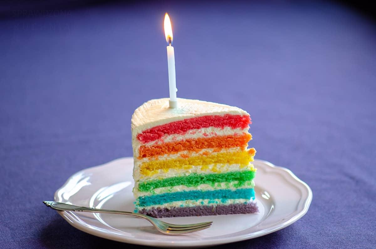 Trójkącik tortu z zapaloną świeczką