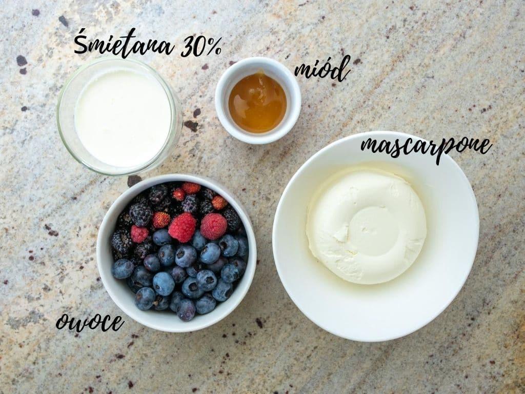 zestaw składników na krem do tarty owocowej bez cukru