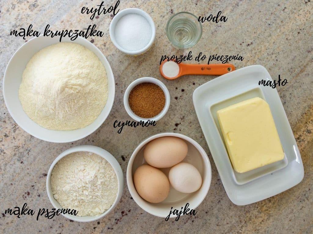 zestaw składników potrzebnych do przygotowania kruchego ciasta do tarty