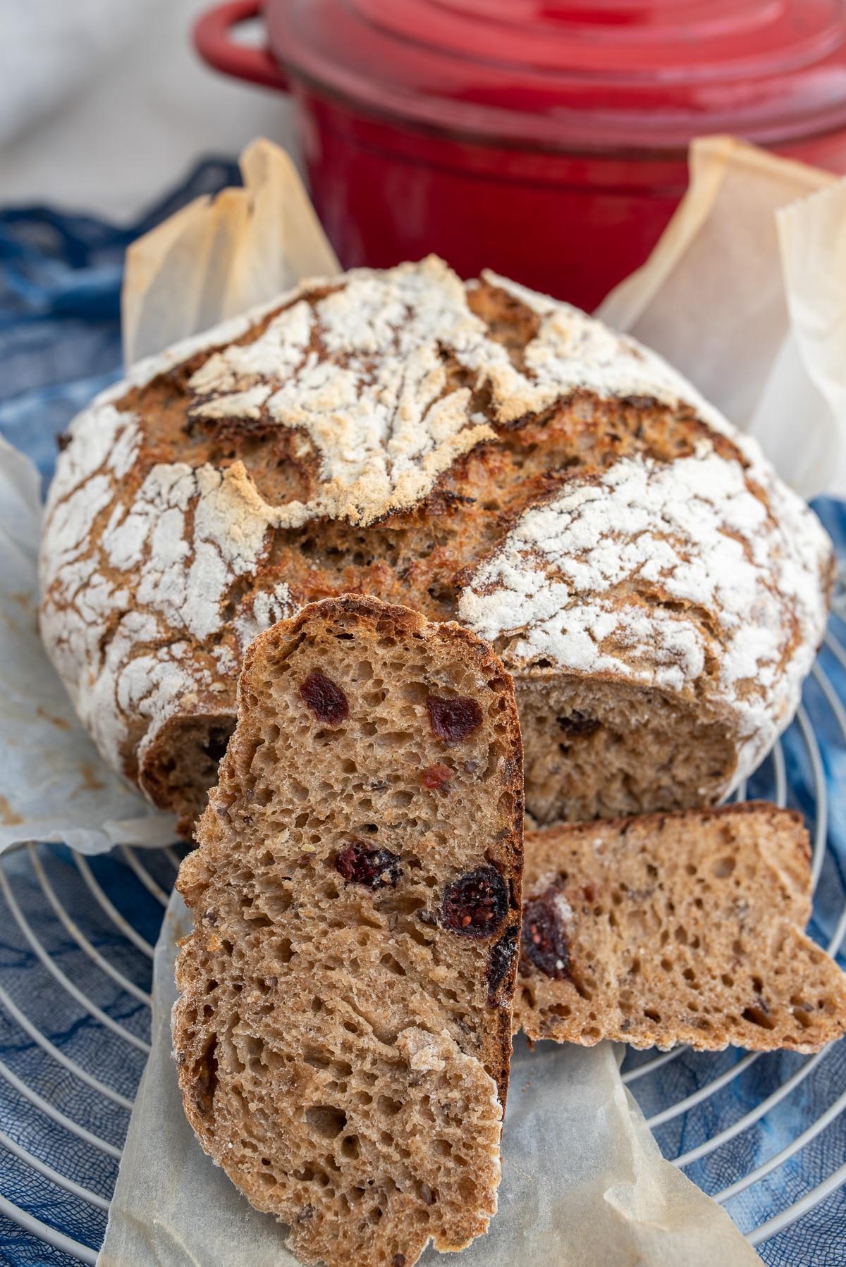 Kromka chleba z żurawiną na tle garnka do pieczenia chleba.