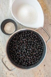 czarne porzeczki w garnku obok cukier i pektyna