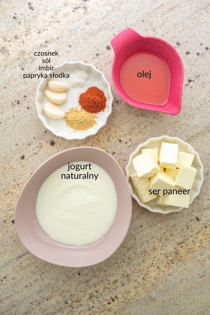 składniki na marynatę do sera paneer